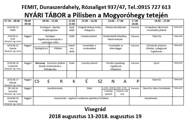 Pilis 2018 tábori program