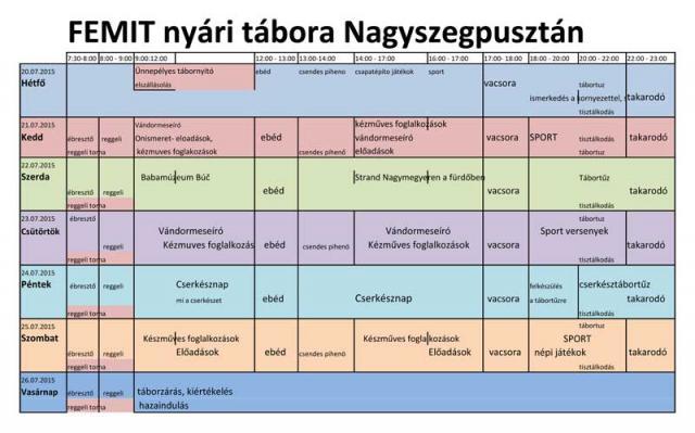 Nyári tábor Nagyszegpuszta - 2015. július 20-27. - program